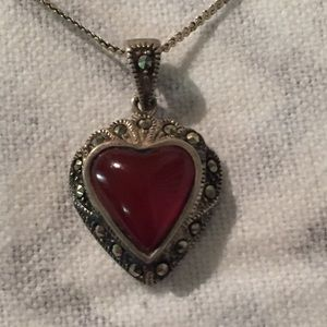 Beautiful Red Stone Heart Marcasite Necklace 925
